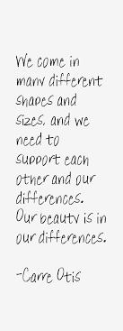 Carre Otis quote: We come in many different shapes and sizes,