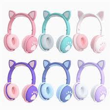 <b>Bk1</b> Cat Ear <b>Bluetooth Headset</b> With Led Light Foldable <b>Earphone</b> ...
