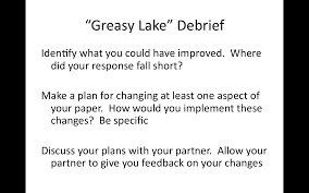 th english do now word association greasy lake debrief