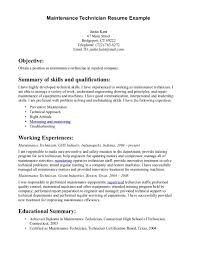 maintenance technician resume resume templates