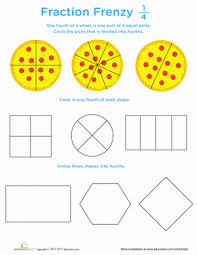 Fraction Frenzy: 1/4 | Worksheet | Education.comFirst Grade Fractions Worksheets: Fraction Frenzy: 1/4