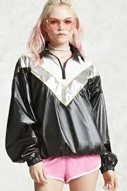 A <b>woven anorak</b> jacket featuring a metallic colorblock design, long ...
