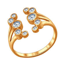 Кольцо «<b>Зимняя вишня</b>» из золочёного серебра с фианитами ...