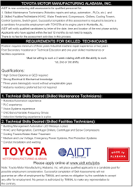 aidt jobs jobs view 13610 maintenance skilled team member job description for maintenance skilled team member toyota motor corporation in huntsville alabama