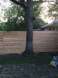 on the fence about our neighbors k l e p a c c o it ended up only taking them about two days to get the whole job done once they had buttoned everything up derek and i stained the cedar