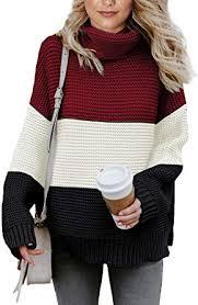 Asvivid Womens <b>Turtleneck</b> Long Sleeve <b>Chunky Knit Pullover</b> ...