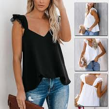 Summer Sleeveless Clothes V Neck Shirts <b>Solid Color</b> Casual ...