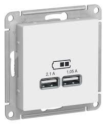 <b>Schneider</b> Atlas Design цвет белый : <b>Розетка</b> 220 с <b>USB</b> 1 портом ...