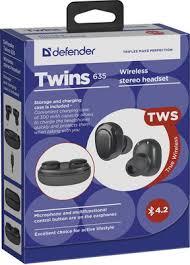 Беспроводные <b>наушники Defender Twins</b> 635 черный 63635 ...