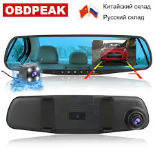 Smart <b>Car DVR</b> Camera <b>4.3 Inch</b> Dual Lens Rear View Mirror FHD ...