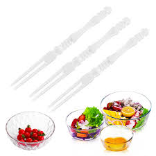 <b>New 50Pcs</b> / Lot Mini <b>Clear Transparent</b> Disposable Forks Home ...
