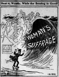 suffrage political cartoons the w lyw versus the political cartoon from the tacoma wa times the women s suffrage movement is depicted as a tidal wave threatening to