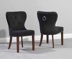 kalim dark wood dining chair pairs baumhaus mobel oak upholstered dining chair pair