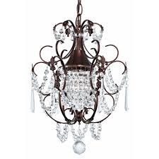 crystal mini chandelier pendant light in bronze finish chandeliers and pendant lighting