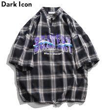 <b>Dark Icon Plaid</b> Shirts Men 2019 Summer Pullover Letters Oversize ...