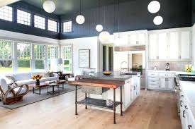open kitchen design farmhouse: twocolor kitchen cabinets two tone wood kitchen floors with light