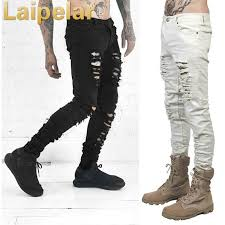 <b>Laipelar New Fashion</b> Men Black White Skinny Slim Fit Jeans ...