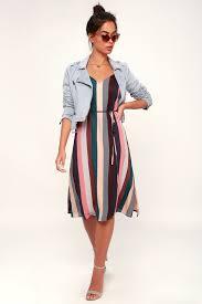 Cute <b>Striped</b> Slip <b>Dress</b> - Midi <b>Dress</b> - Mauve Multi <b>Stripe Dress</b>