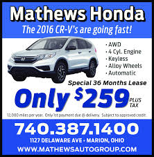 galion inquirer business directory coupons restaurants mathews hondathe 2016 cr v s are going fast awd4 cyl enginekeylessalloy wheelsautomaticspecial 36