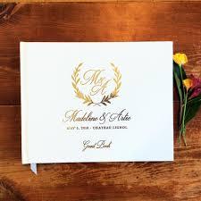 <b>Customized wreath</b> Gold Foil Unique <b>Wedding Guest</b> Books ...