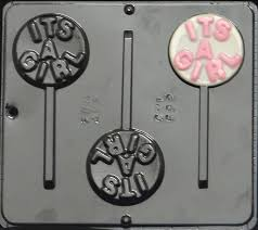 """<b>It's a Girl</b>"" Lollipop Chocolate Candy Mold Baby Shower 692 NEW ..."