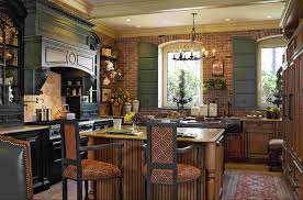 open kitchen design farmhouse: country  country kitchen design blue design accent color on cabinets round recessed ceiling lamp white single bowl sink open shelves cabinetry wall mount shelves
