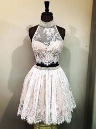 Cheap Halter Two Piece <b>Cute Lace</b> Homecoming Dresses <b>2018</b> ...