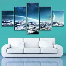 <b>Modular</b> Canvas Printed <b>Pictures 5 Pieces</b> Moonscape Fantasy ...