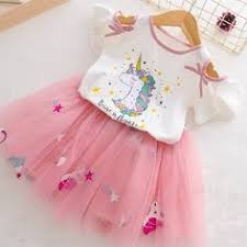 Girls <b>Unicorn</b> Dress Clothing Sets <b>2019 Summer</b> Cute Princess Girl ...