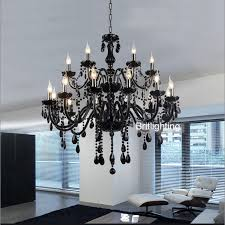 18 lights luxury black crystal chandelier lighting lamp candle crystal chandelier lamp brief fashion living room black crystal chandelier lighting