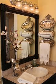 bathroom decor ideas unique decorating: add molding amp wooden square medallions to your plain bathroom mirror for a designer look