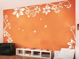 breathtaking bedroom wall design ideas with orange paint color and floral pattern white stickers also wooden bedroom furniture sticker style