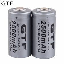 <b>GTF 3.7V</b> 2500mAh Lithium Li ion 16340 Battery <b>CR123A</b> ...