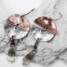 1 Pair Women Vintage Glass <b>Water Drop</b> Girl <b>Antique Copper</b> Plated ...