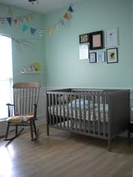 baby nursery mint green walls grey brown ikea furniture fabric banner pastels wall frames wood rocking blue nursery furniture