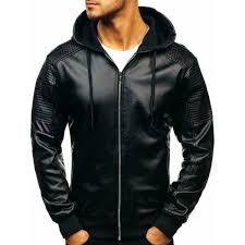 <b>Men's Hooded</b> Fashion <b>Leather Jacket</b> – Musheditions