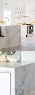 calacatta marble kitchen waterfall: this waterfall edge countertop looks like on trend calacatta marble but this ultra
