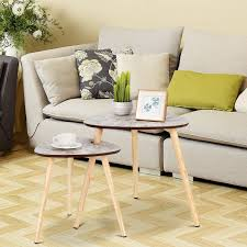 <b>2 pcs</b> Living Room Nesting End <b>Coffee Tables</b> with Wooden Leg ...