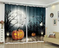 <b>Halloween Pumpkin</b> Bats 3D Blackout Curtain Healthy non pollution ...