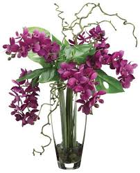day orchid decor: phalaenopsis orchid arrangement in glass vase violet and green home office decor accent