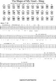 <b>Shape</b> of My Heart STING Tab Chords for SilentGuitarsounds ...