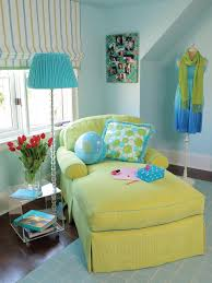country living room ci allure: blue eclectic lounge with light green chaise and striped pull up curtains