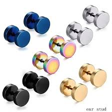 316L Stainless Steel <b>Earrings</b> Double Sided 8mm Round Bolt Stud ...