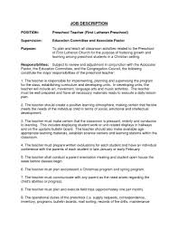 top preschool teacher job description recentresumes com resume exles for preschool teacher job description