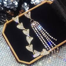 BELLA  <b>S925 silver needle Asymmetric</b> diamond earrings Long style ...