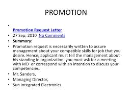 Application letter job promotion sample