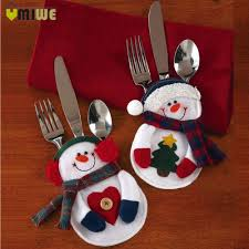 household dining table set christmas snowman knife: pcs lot christmas decorations santa snowman party silverware holder bag cutlery bags christmas santa claus