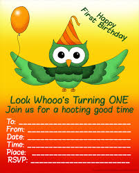 first birthday party invitations and ready to print 1st fun birthday invitation for kids hooting owl and balloon