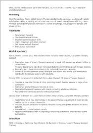 professional speech therapy assistant templates to showcase your    resume templates  speech therapy assistant