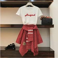 2019 Summer Women <b>2 Piece</b> sets <b>Girl's</b> Letters Print Loose Long T ...